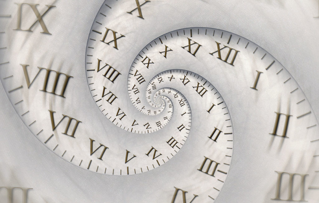 "Abstract time concept: spiral clock with blurred zoom and vertigo effect. Roman numerals and vintage textured background. Ancient latins used to say ""tempus fugit"", meaning that ""time runs"" and never comes back. Concept for time, deadline and urgency."